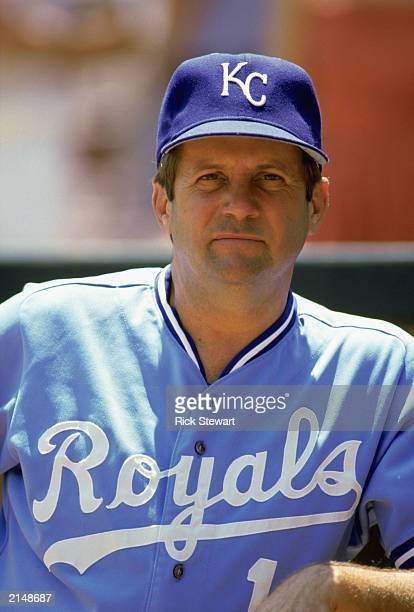 Coach Dick Howser of the Kansas City Royals looks on during a MLB game in the 1985 season