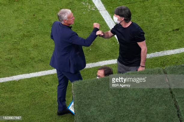 Coach Didier Deschamps, Coach Joachim Low of Germany during the UEFA Euro 2020 match between France and Germany at Allianz Arena on June 15, 2021 in...