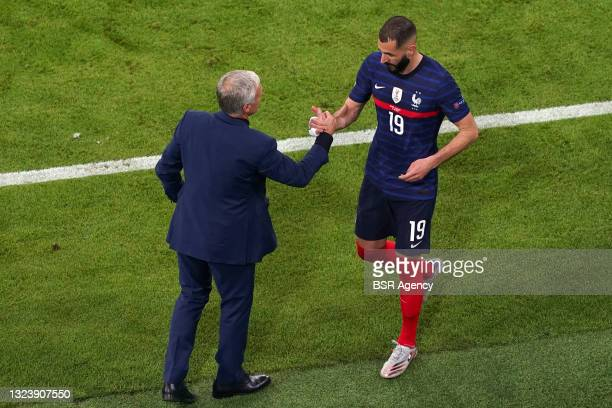 Coach Didier Deschamps, Karim Benzema of France during the UEFA Euro 2020 match between France and Germany at Allianz Arena on June 15, 2021 in...