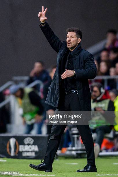 Coach Diego Simeone of Atletico de Madrid gestures during the UEFA Europa League quarter final leg one match between Atletico Madrid and Sporting CP...