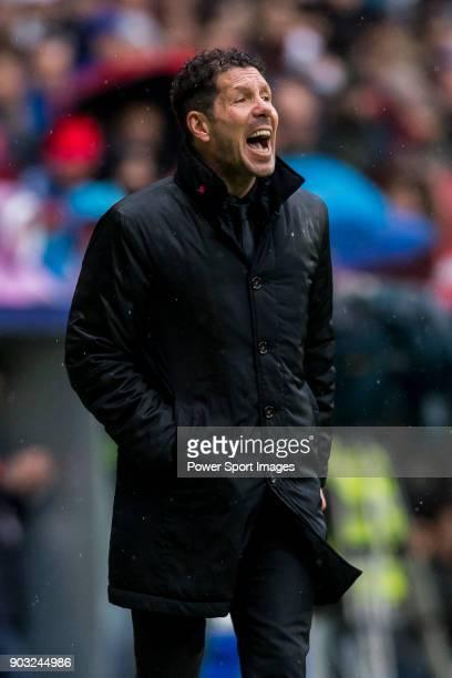 Coach Diego Simeone of Atletico de Madrid reacts during the La Liga 201718 match between Atletico de Madrid and Getafe CF at Wanda Metropolitano on...