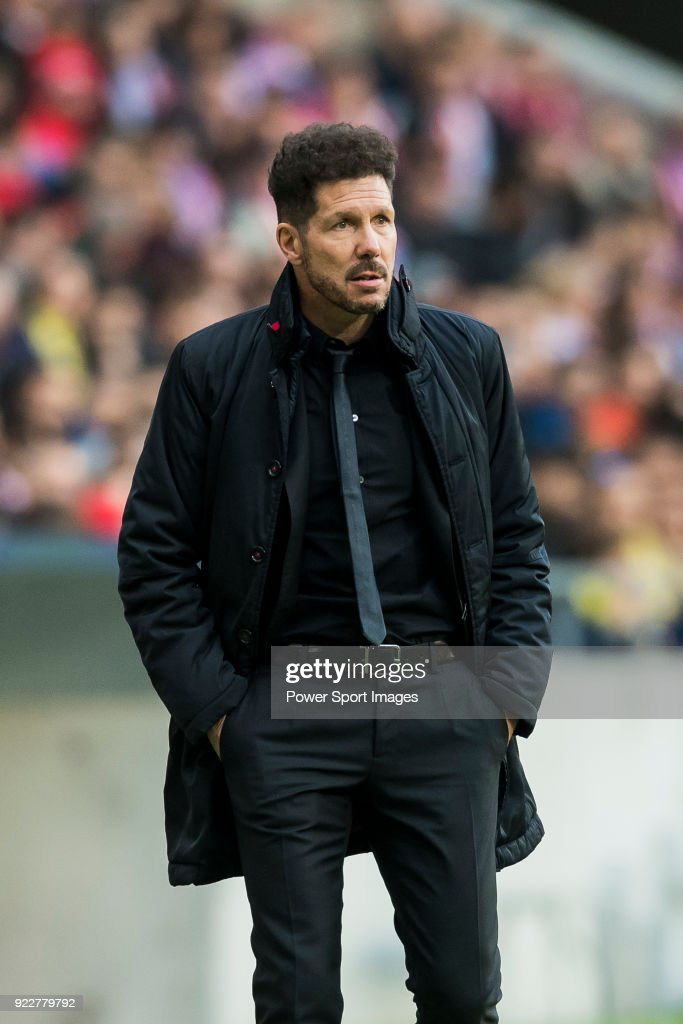 Coach Diego Simeone of Atletico de Madrid reacts during the La Liga 2017-18 match between Atletico de Madrid and UD Las Palmas at Wanda Metropolitano on January 28 2018 in Madrid, Spain.