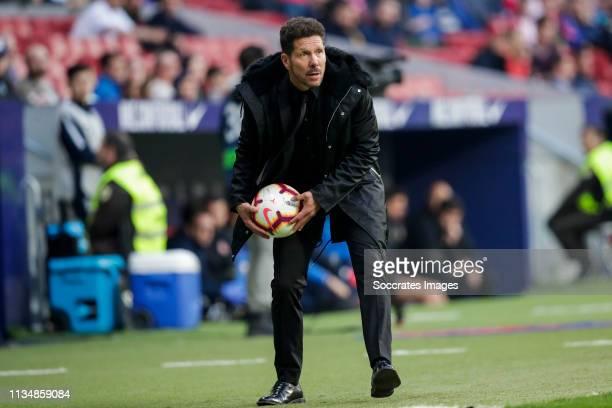 coach Diego Simeone of Atletico Madrid during the La Liga Santander match between Atletico Madrid v Girona at the Estadio Wanda Metropolitano on...