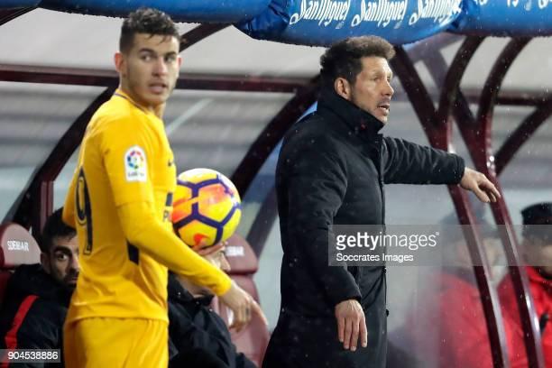 coach Diego Simeone of Atletico Madrid during the La Liga Santander match between Eibar v Atletico Madrid at the Estadio Municipal de Ipurua on...