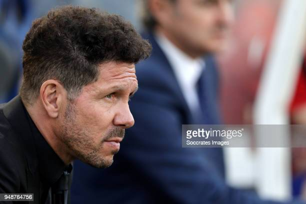 coach Diego Simeone of Atletico Madrid during the La Liga Santander match between Real Sociedad v Atletico Madrid at the Estadio Anoeta on April 19...