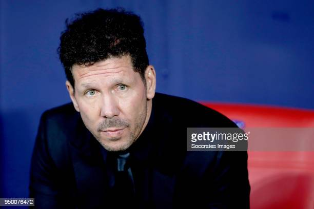 coach Diego Simeone of Atletico Madrid during the La Liga Santander match between Atletico Madrid v Real Betis Sevilla at the Estadio Wanda...
