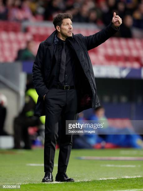 coach Diego Simeone of Atletico Madrid during the Spanish Copa del Rey match between Atletico Madrid v Lleida on January 9 2018