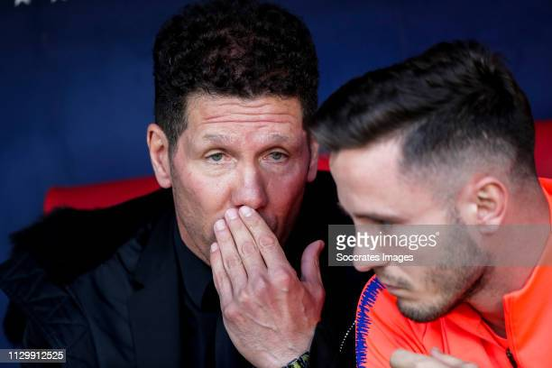 coach Diego Simeone of Atletico Madrid Saul Niguez of Atletico Madrid during the La Liga Santander match between Atletico Madrid v Leganes at the...