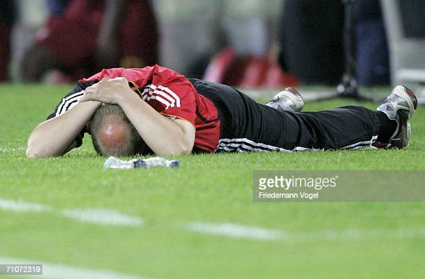 Coach Dieter Eilts looks dejected during the UEFA U21's Championship Group A match between Germany and Portugal at the Stadium D Afonso Henriques on...