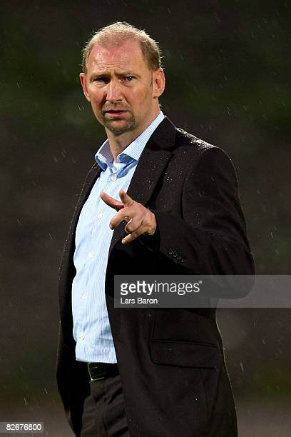 Coach Dieter Eilts of Germany gestures prior to the UEFA Under21 Euro2009 Qualifier match between Germany and Northern Ireland at the Stadion am Zoo...