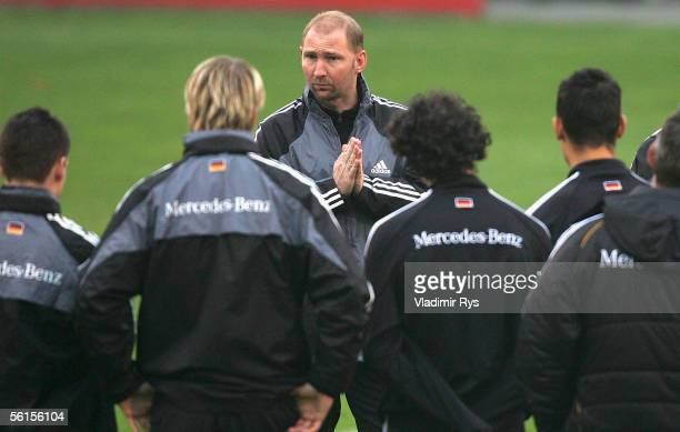 Coach Dieter Eilts of Germany speaks to his players during the U21 training session at Kleine Bayarena Stadium on November 14 2005 in Leverkusen...