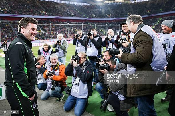 Coach Dieter Hecking of Moenchengladbach smiles prior Telekom Cup 2017 match between Borussia Moenchengladbach and 1. FSV Mainz 05 at Esprit-Arena on...
