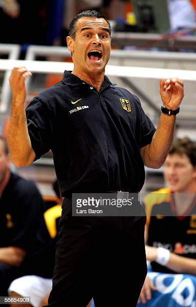 Coach Dirk Bauermann from Germany reacts during the FIBA EuroBasket 2005 match between Germany and Italy on September 16, 2005 in the Millenium Hall...
