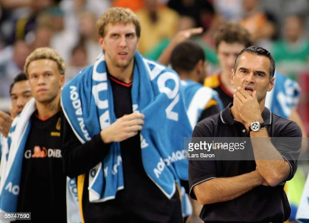 Coach Dirk Bauermann from Germany reacts next to Dirk Nowitzki during the FIBA EuroBasket 2005 quarter final match between Slovenia and Germany on...