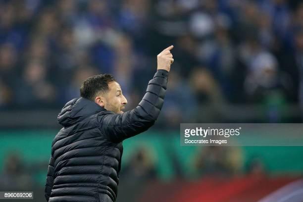coach Domenico Tedesco of Schalke 04 during the German DFB Pokal match between Schalke 04 v 1 FC Koln at the Veltins Arena on December 19 2017 in...