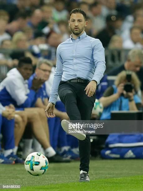 coach Domenico Tedesco of Schalke 04 during the German DFB Pokal match between Schalke 04 v Eintracht Frankfurt at the Veltins Arena on April 18 2018...