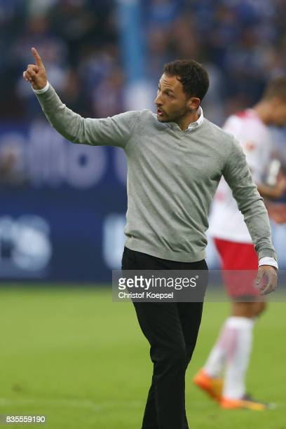 Coach Domenico Tedesco of Schalke celebrates his team's second goal with Franco Di Santo of Schalke during the Bundesliga match between FC Schalke 04...