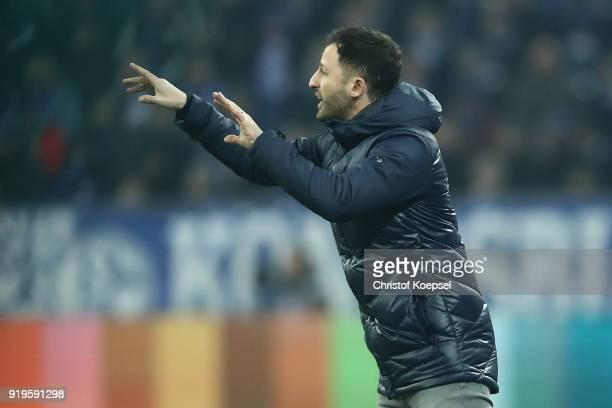Coach Domenico Tedesco of Schalke gestures during the Bundesliga match between FC Schalke 04 and TSG 1899 Hoffenheim at VeltinsArena on February 17...