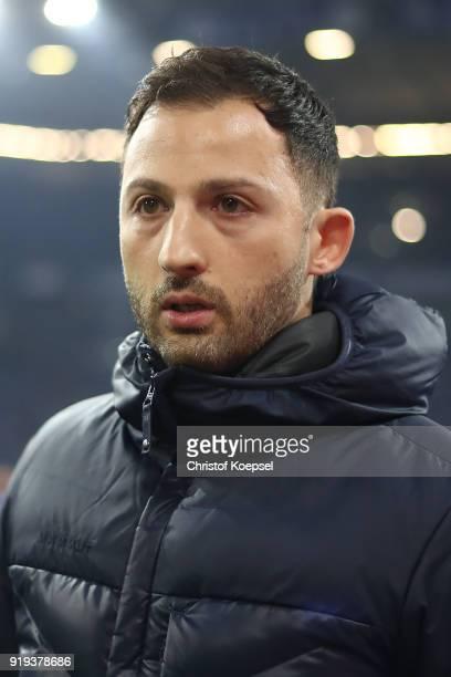 Coach Domenico Tedesco of Schalke looks on before the Bundesliga match between FC Schalke 04 and TSG 1899 Hoffenheim at VeltinsArena on February 17...