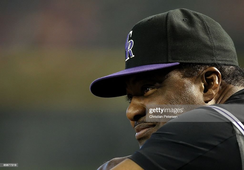 Coach Don Baylor of the Colorado Rockies looks on during the game against the Arizona Diamondbacks at Chase Field on April 8, 2009 in Phoenix, Arizona. The Rockies defeated the Diamondbacks 9-2.
