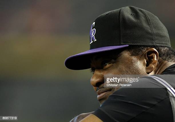 Coach Don Baylor of the Colorado Rockies looks on during the game against the Arizona Diamondbacks at Chase Field on April 8 2009 in Phoenix Arizona...