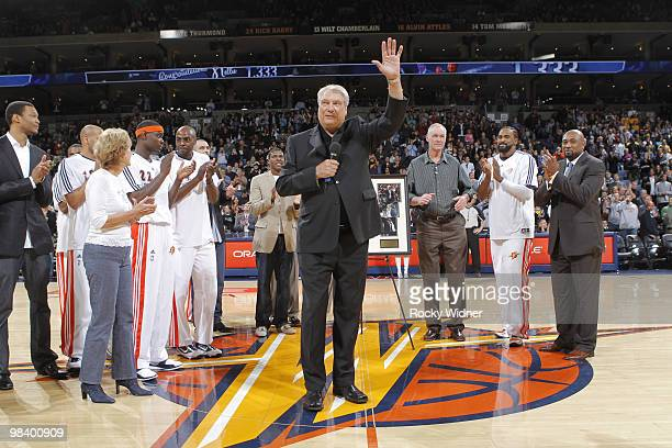 Coach Don Nelson of the Golden State Warriors waves to the crowd during the pregame awards ceremony on April 11 2010 at Oracle Arena in Oakland...