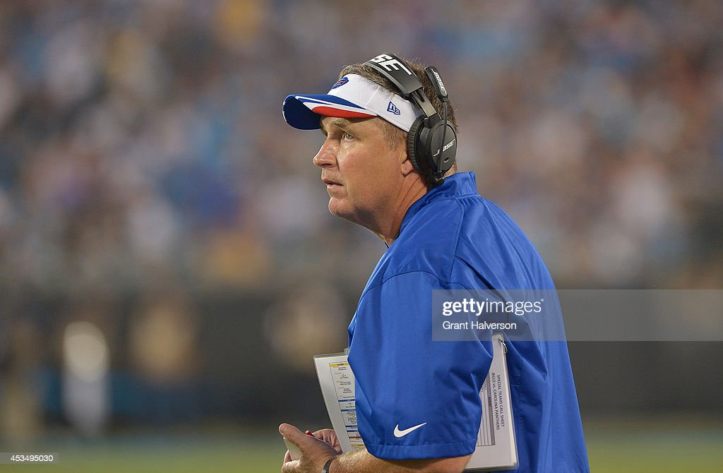 Coach Doug Marrone of the Buffalo Bills during their game against the Carolina Panthers at Bank of America Stadium on August 8, 2014 in Charlotte, North Carolina. Buffalo won 20-18.