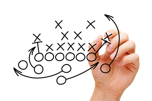 Coach Drawing American Football Playbook Strategy 1133997771