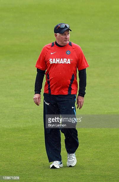Coach Duncan Fletcher of India arrives for a nets session ahead of the 2nd NatWest One Day International at The Rose Bowl on September 5, 2011 in...