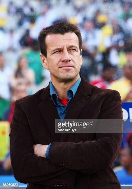 Coach Dunga of Brazil looks on ahead to the FIFA Confederations Cup match between U.S.A. And Brazil at Loftus Versfeld Stadium on June 18, 2009 in...