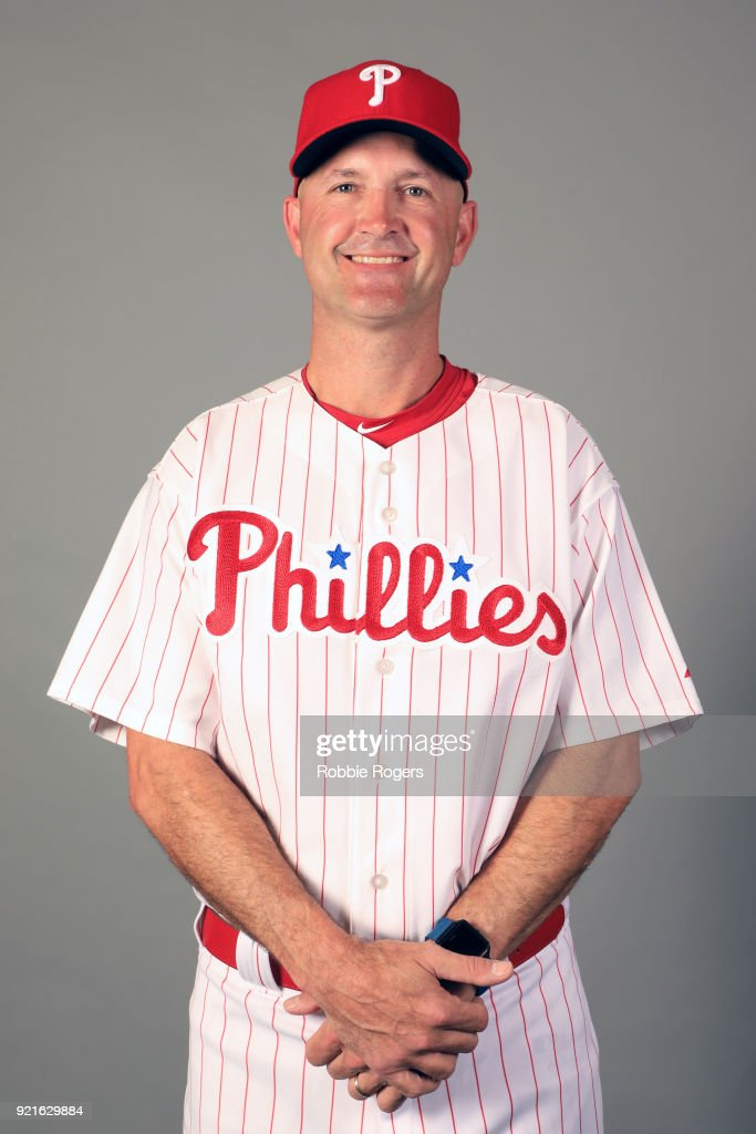 Coach Dusty Wathan #62 of the Philadelphia Phillies poses during Photo Day on Tuesday, February 20, 2018 at Spectrum Field in Clearwater, Florida.