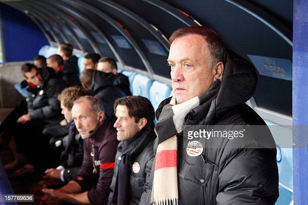 PSV coach Dutch Dick Advocaat reacts before the UEFA Europa league Group F football match SSC Napoli vs PSV Eindhoven on December 6 2012 in San Paolo...