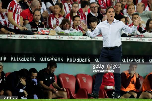 coach Eduardo Berizzo of Athletic Bilbao during the La Liga Santander match between Athletic de Bilbao v Real Sociedad at the Estadio San Mames on...
