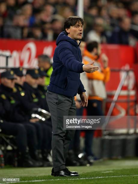 coach Eduardo Berizzo of Sevilla FC during the La Liga Santander match between Sevilla v Atletico Madrid at the Estadio Ramon Sanchez Pizjuan on...