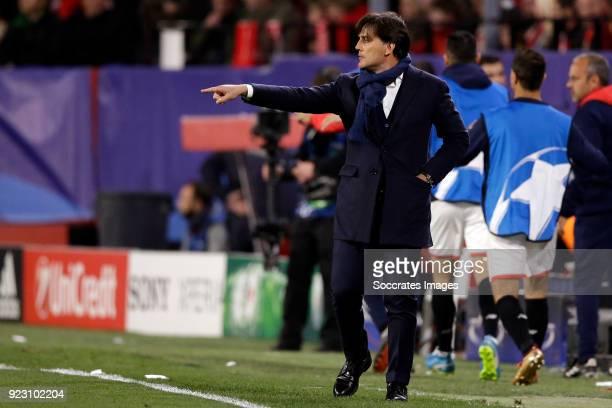 coach Eduardo Berizzo of Sevilla FC during the UEFA Champions League match between Sevilla v Manchester United at the Estadio Ramon Sanchez Pizjuan...