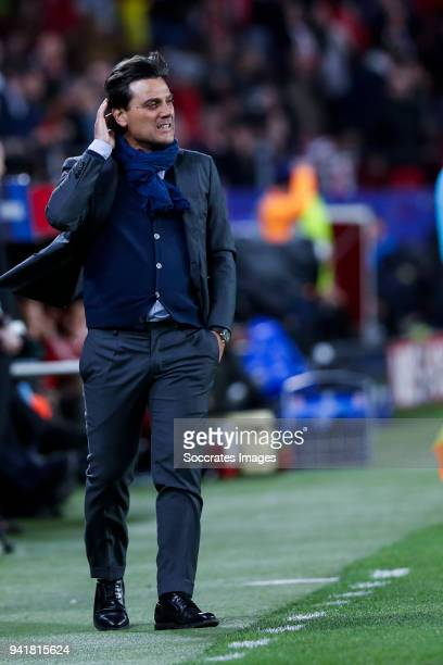 coach Eduardo Berizzo of Sevilla FC during the UEFA Champions League match between Sevilla v Bayern Munchen at the Estadio Ramon Sanchez Pizjuan on...
