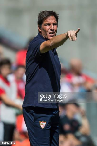 Coach Eduardo Berizzo of Sevilla FC reacts during the La Liga 201718 match between Atletico de Madrid and Sevilla FC at the Wanda Metropolitano on 23...