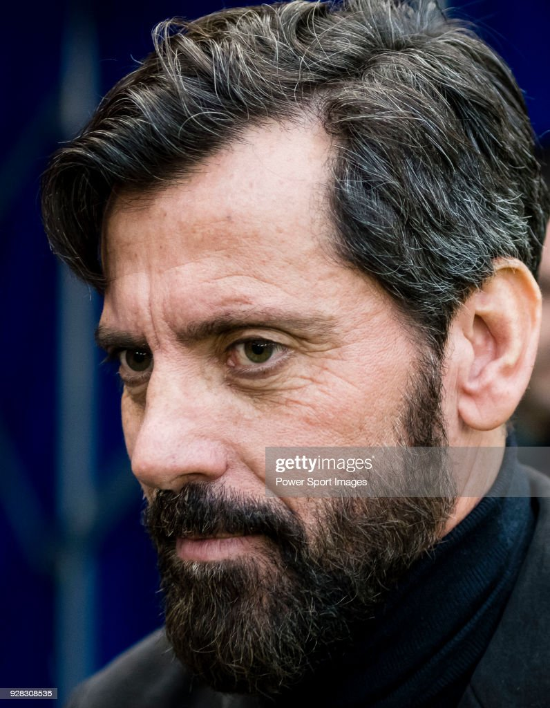 Coach Enrique Sanchez Flores of RCD Espanyol reacts prior to the La Liga 2017-18 match between RCD Espanyol and FC Barcelona at RCDE Stadium on 04 February 2018 in Barcelona, Spain.