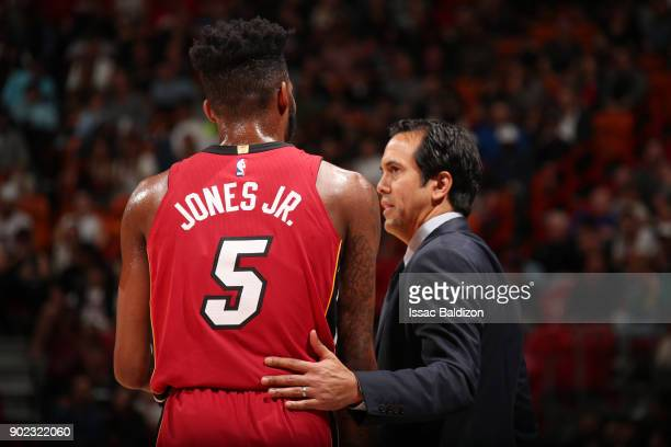 Coach Erik Spoelstra of the Miami Heat directs Derrick Jones Jr #5 during the game against the Utah Jazz on January 7 2018 at American Airlines Arena...