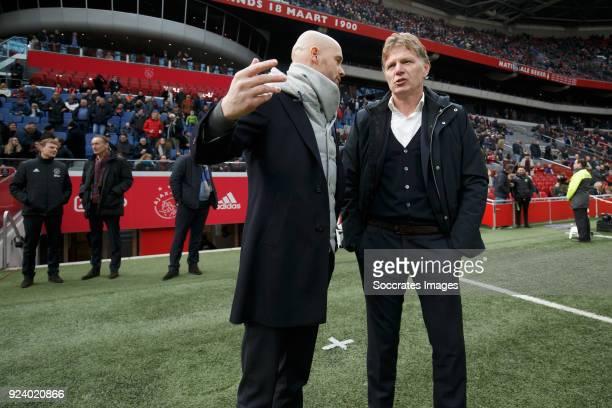 coach Erik ten Hag of Ajax coach Alfons Groenendijk of ADO Den Haag during the Dutch Eredivisie match between Ajax v ADO Den Haag at the Johan...