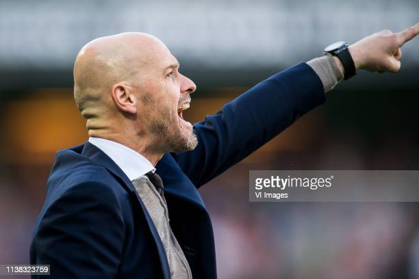 coach Erik ten Hag of Ajax during the Dutch Eredivisie match between FC Groningen and Ajax Amsterdam at Hitachi Capital Mobility stadium on April 20...