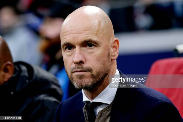 coach Erik ten Hag of Ajax during the UEFA Champions League match between Ajax v Tottenham Hotspur at the Johan Cruijff Arena on May 8 2019 in...