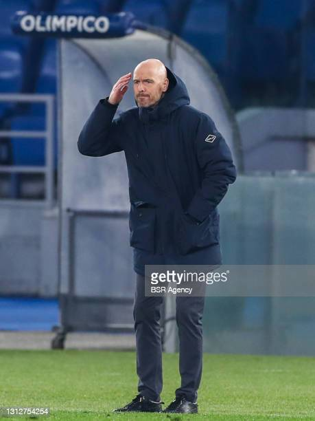 Coach Erik Ten Hag of Ajax during the UEFA Europa League Quarter Final: Leg Two match between AS Roma and Ajax at Stadio Olimpico on April 15, 2021...