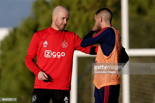 coach Erik ten Hag of Ajax Hakim Ziyech of Ajax during the match between Training Camp Ajax in Portugal on January 8 2018 in Lagos Portugal