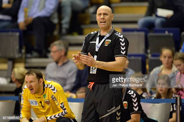 Coach Erlingur Richardsson of Fuechse Berlin during the game between Fuechse Berlin and dem HSG Wetzlar on April 17 2016 in Berlin Germany
