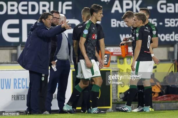 coach Ernest Faber of FC Groningen assistant trainer Marcel Groninger of FC Groningen Samir Memisevic of FC Groningen Etienne Reijnen of FC Groningen...