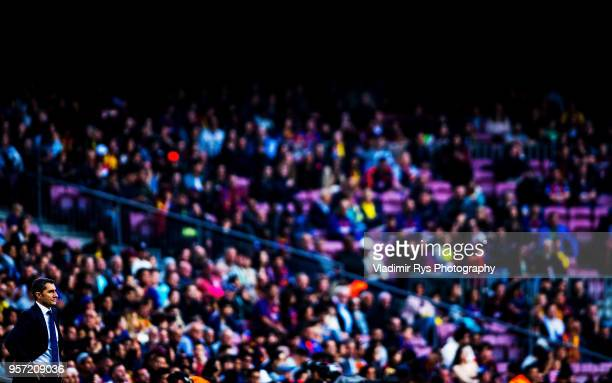 Coach Ernesto Valverde of Barcelona is pictured during the La Liga match between FC Barcelona and Villareal CF at the Camp Nou stadium on May 09,...