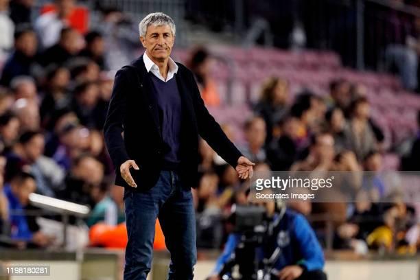coach Ernesto Valverde of FC Barcelona during the La Liga Santander match between FC Barcelona v Levante at the Camp Nou on February 2 2020 in...