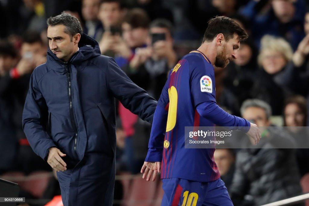 coach Ernesto Valverde of FC Barcelona, Lionel Messi of FC Barcelona during the Spanish Copa del Rey match between FC Barcelona v Celta de Vigo at the Camp Nou on January 11, 2018 in Barcelona Spain
