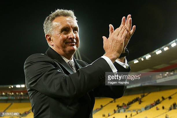 Coach Ernie Merrick of the Phoenix applauds the crowd after the final whistle during the round 21 ALeague match between the Wellington Phoenix and...